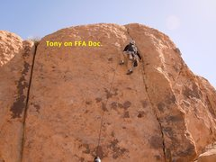 Rock Climbing Photo: 3 bolts the crack can be used but no gear in the c...