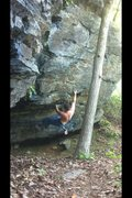 Rock Climbing Photo: This is the first move of Brown Recluse. The probl...