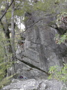 Rock Climbing Photo: A somewhat blurry photo of Haven (5.10a) The route...