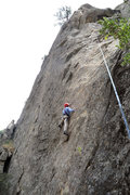 Rock Climbing Photo: Carolyn Libuser enters the crux sequence on the fi...