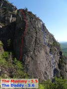 Topo of route.  Stretch the rope, use long draws and find belays where appropriate.