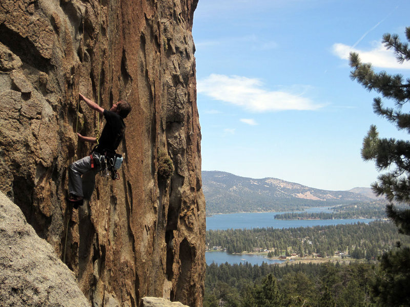 The Turret (5.8) at Castle Rock, with Big Bear Lake in the background.