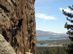 Rock Climbing Photo: The Turret (5.8) at Castle Rock, with Big Bear Lak...