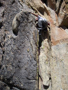 Rock Climbing Photo: Mike Newheart leading, just getting past the steep...