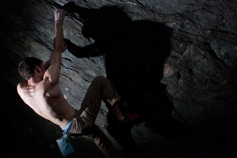 Aaron James Parlier on the start hold (and 2nd ascent) to &quot;Flying Spaghetti Monster&quot; (V8)<br> <br>