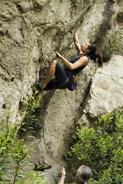 """Tiffany leading """"The Scorpion Crack"""" [defunct] at the second bolt."""