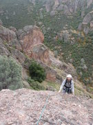 Rock Climbing Photo: Nearing the top of the first pitch.  We were able ...