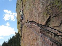 Rock Climbing Photo: 4th pitch traverse.