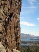 Rock Climbing Photo: The Turret (5.8) at Castle Rock, Big Bear Lake.