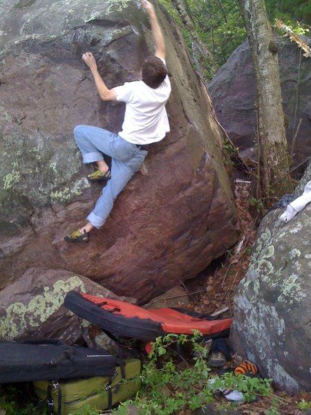 Rock Climbing Photo: Move to big topout jug