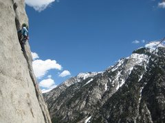 Rock Climbing Photo: Annie climbing the top pitch of Lowe Blow while we...