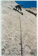 Rock Climbing Photo: Clipping the 1st bolt of the second pitch (Climb o...