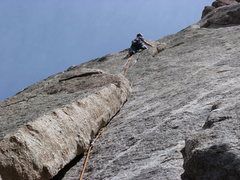 Rock Climbing Photo: Just above the crux on pitch one.