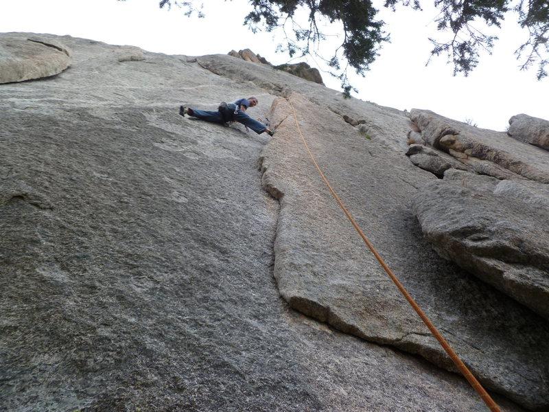Rock Climbing Photo: No hands rest, first pitch.