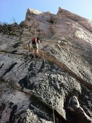 Rock Climbing Photo: Rapping down from the anchor bolts.  This is much ...
