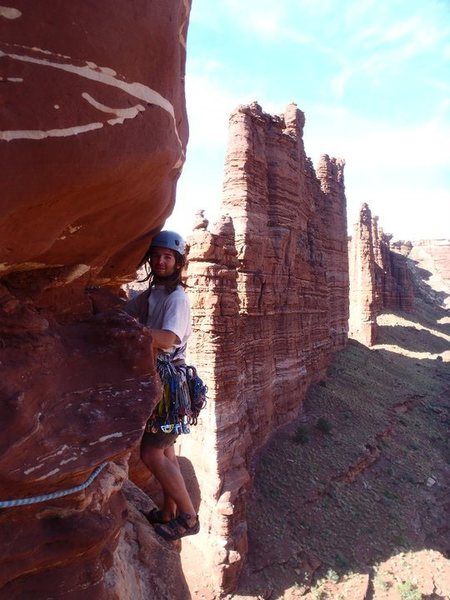 Rock Climbing Photo: David on the traverse of P2