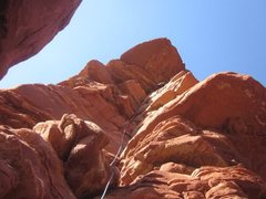Rock Climbing Photo: At the crux of the P1
