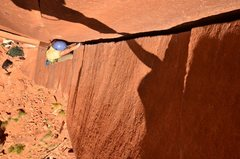 Rock Climbing Photo: Carling in the final section of Wavy Gravy