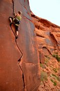 Rock Climbing Photo: Carling at the top of the lower section of Wee Dog...