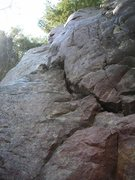 Rock Climbing Photo: Looking up the diagonal rail crack of the lower se...