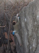 Rock Climbing Photo: The Snatch V2, contains a hold which begs to be pe...