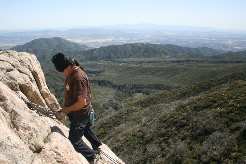 Albert Ramirez at the rappel for the west face.