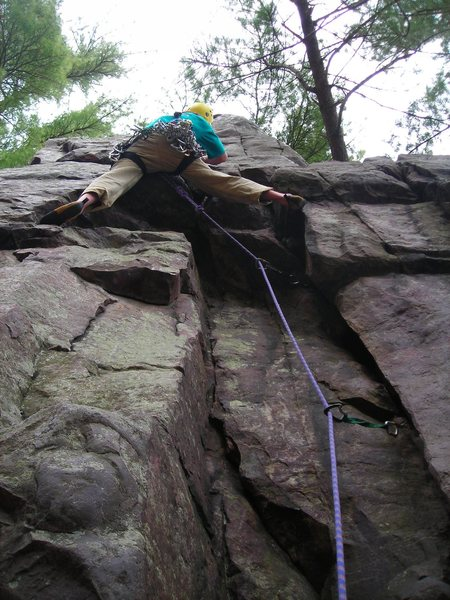 "Leading the committing overhang of ""Special K""... Dr. Eric P. may 2011.  ""The Pantry""... West Bluff."