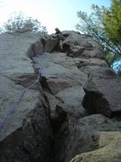 "Rock Climbing Photo: Eric P. leading ""The Bone"" on a fine May..."