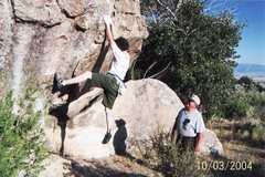 Rock Climbing Photo: My father spotting me on a boulder problem at Cast...
