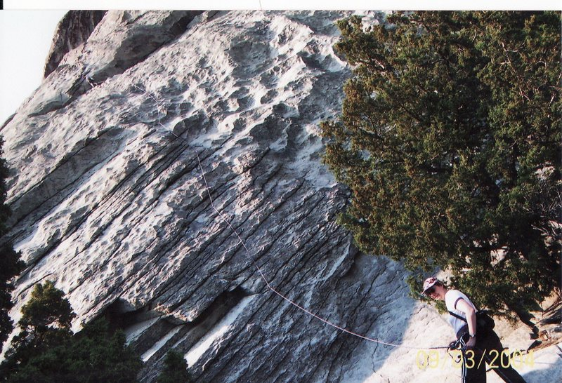 My mother belaying me on a 5.7 on Castle Rock<br> <br> Castle Rock State Park, Idaho 2008