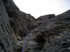 Rock Climbing Photo: Looking up from somewhere on Direttissima. I didn'...