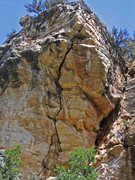 Rock Climbing Photo: The route from the road. It looks deceptively shor...