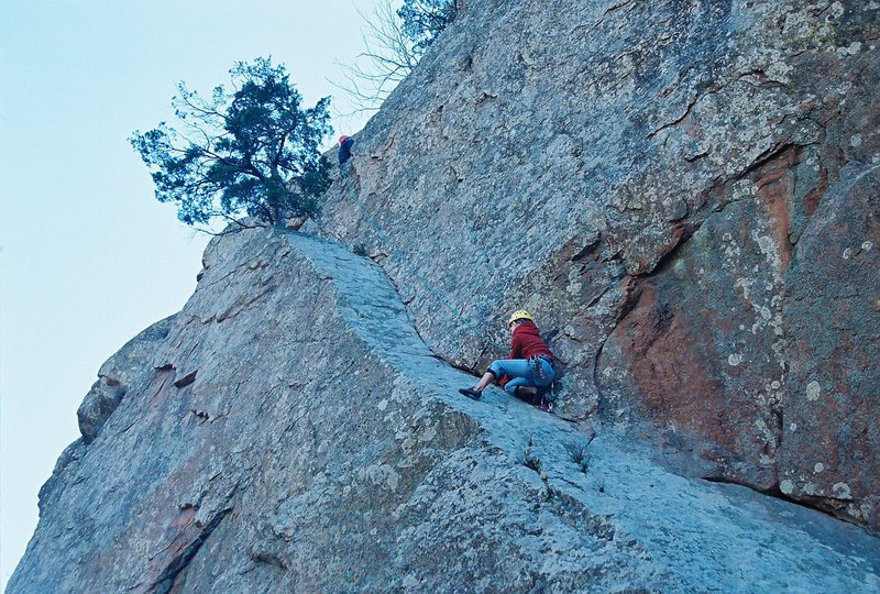 My Daughter on Ker Plunk on the Narrows, Wichita Mountains Wildlife refuge. Pitch 1 ends at the tree above her. Classic.
