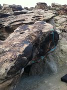 Rock Climbing Photo: Same boulder as the Cave, but dyno from the rail t...