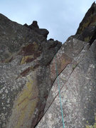 Rock Climbing Photo: N side downclimb crux section (blind but good hold...
