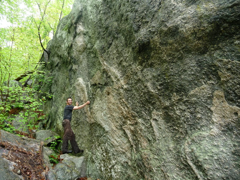 Persuasion Wall<br> Awesome TR/sport climbing potential.<br> Pink granite, quartz, all kinds of cool holds.  40 feet tall. 80 feet long. Has a roof area with huge quartz chunks in it.<br>