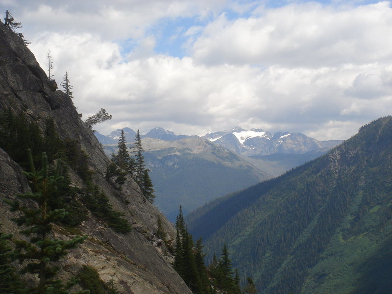 Looking back towards the Canadian Rockies from the steep slabs along the trail.