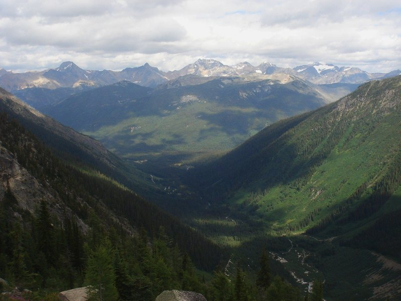 Glacial valley and Canadian Rockies.
