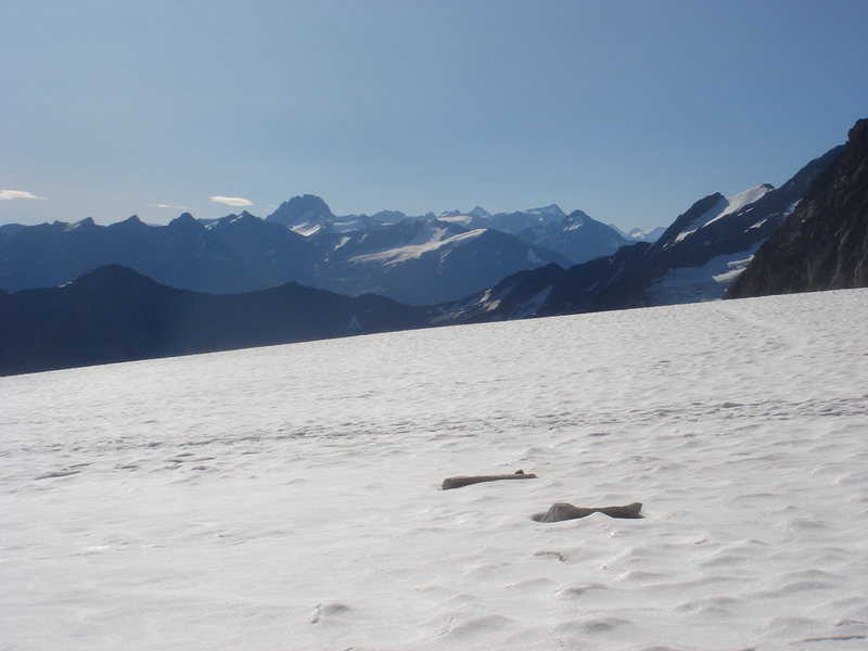 Rock Climbing Photo: Looking south across the snow field below the Buga...