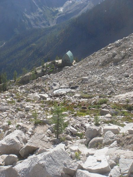 Looking down the talus slope; another view of the Kain hut.