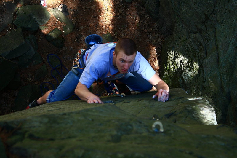 Nick leading, trying to decipher the crux.