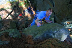 Rock Climbing Photo: Nick debating on the best way to top out.