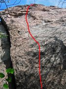 Rock Climbing Photo: A marginal shot of route with the upper section fo...