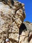 Rock Climbing Photo: Battling out the crux roof. Photo Tom Johannesmeye...
