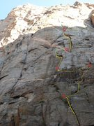 Rock Climbing Photo: Photo showing belays and route. The roof on P1 is ...