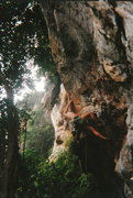 Rock Climbing Photo: Julie Peterson working on the tricky crux moves on...