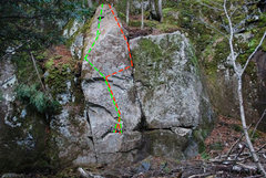 Rock Climbing Photo: Green line is Oblivious. Red line is Rotten Carcas...