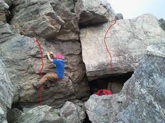 Rock Climbing Photo: Fred's FA of Russian Ouellette. Right:Stop,Drop,Re...