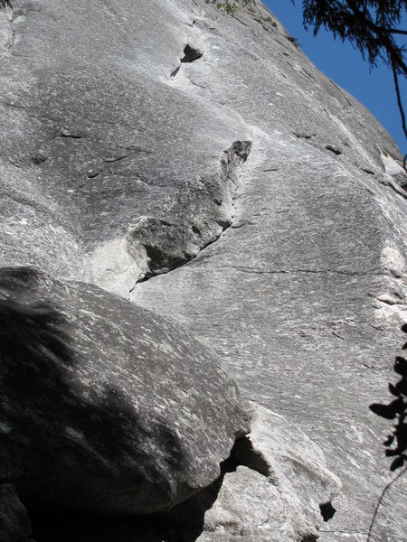 "Church Bowl Lieback; looking up at ""the business portion"" of the route."