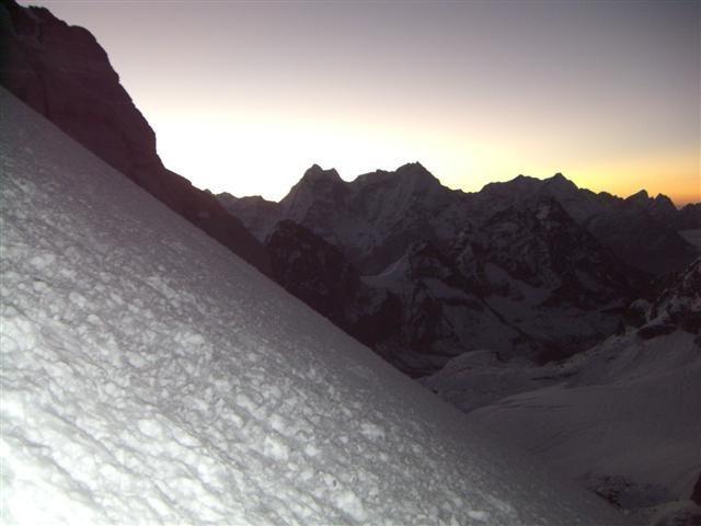 Rock Climbing Photo: Sunrise along the ascent.